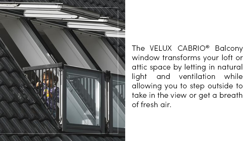 The VELUX CABRIO® Balcony window transforms your loft or attic space by allowing you to step outside to take in the view or get a breath of fresh air.