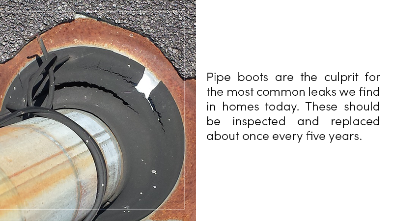 Pipe boots are the culprit for the most common leaks we find in homes today.