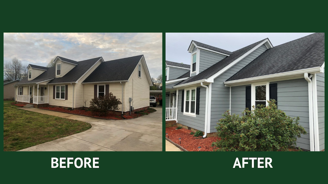 vinyl siding replacement project and after